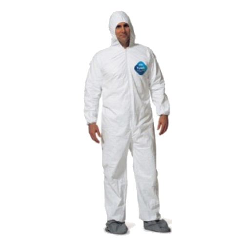 tyvek coverall w/hood & antiskid boots